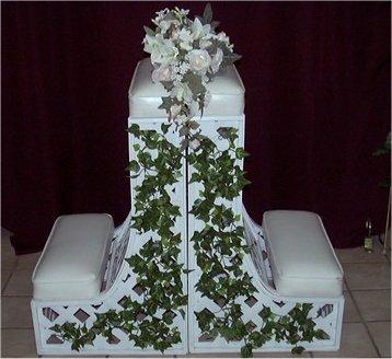 Kneeling bench for wedding rental dresses